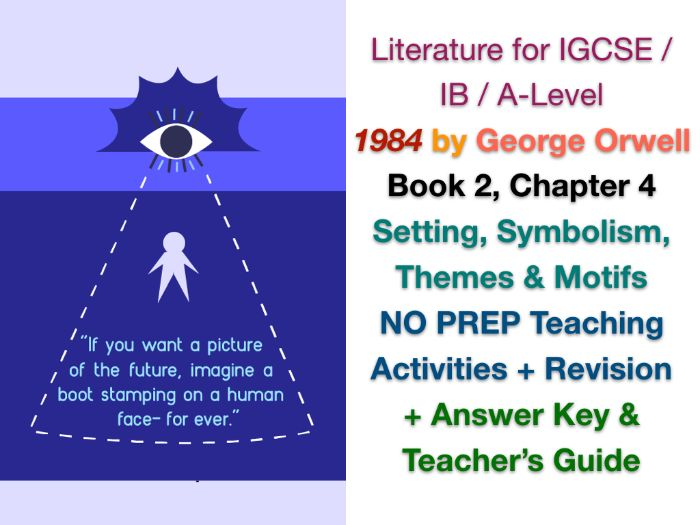 George Orwell - 1984 - Book 2, Ch. 4: Setting, Themes, Symbols & Motifs (IGCSE WORKSHEETS + ANSWERS)