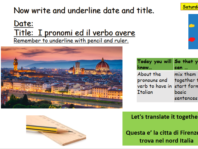 Italian personal pronouns and verb to have