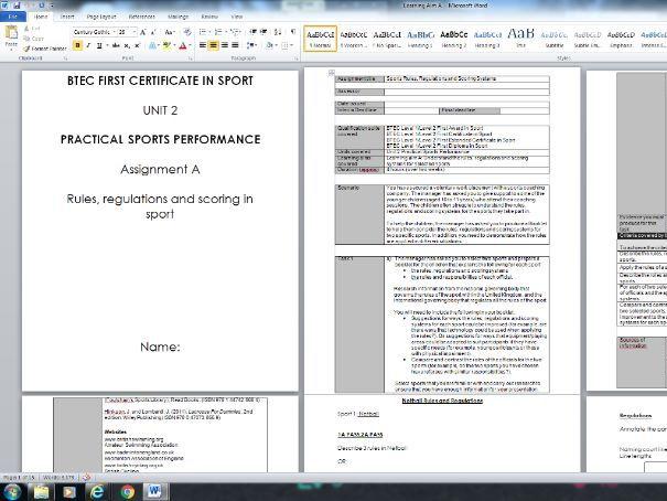 BTEC SPORT LEVEL 2 -UNIT 2 PRACTICAL SPORT Student Booklet AIM A,B & C