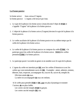 Forme passive (Passive voice in French) notes and worksheets