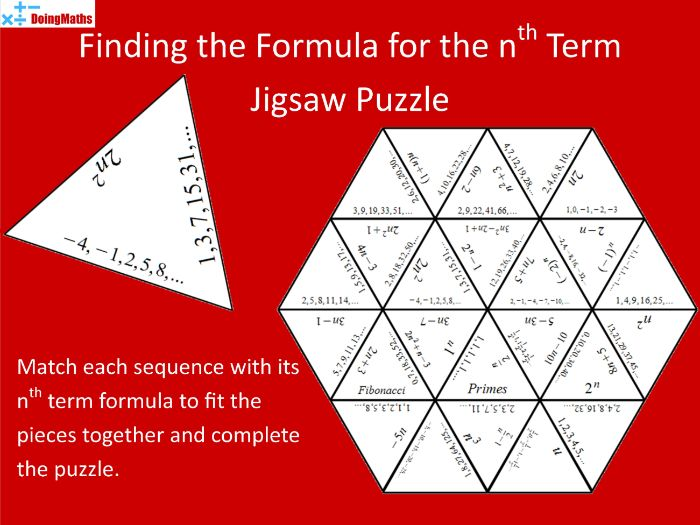 Finding a Formula for the nth term of a Sequence Tarsia Jigsaw Puzzle
