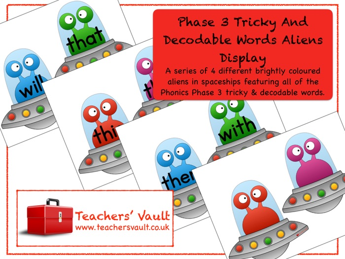 Phase 3 Tricky and Decodable Words Aliens Display