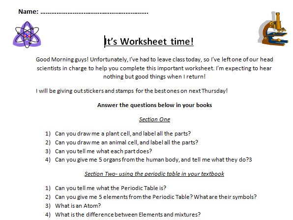 KS3/4 Science Engaging Cover Worksheets