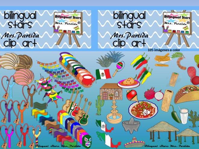 Mexico 5 de Mayo - 16 de Septiembre Clipart Bilingual Stars Partida Clips