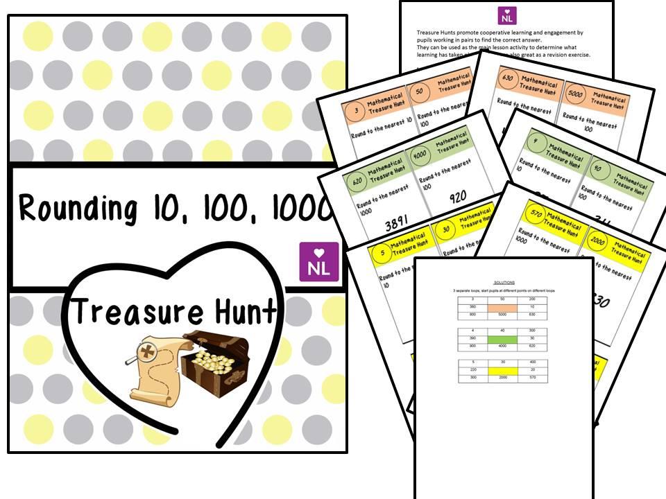 Rounding Nearest 10, 100, 100 (Treasure Hunt)