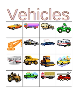 Vehicles in English Bingo and Flashcards