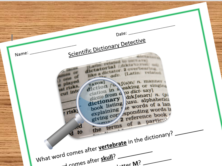 Dictionary Detective Sheets - Scientific Dictionary Version