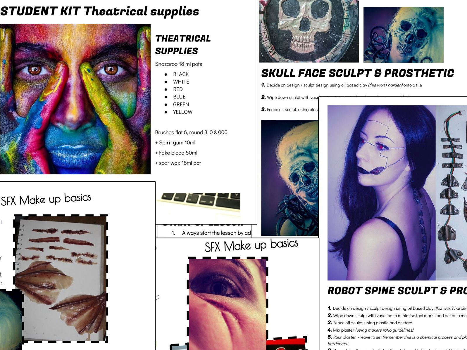 FIRST TERM BTEC UAL L3 Production Arts Special effects Make-up SFX MU Resources BUNDLE