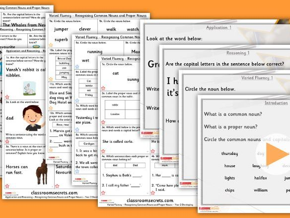 Grammar Year 2 Recognising Common Nouns and Proper Nouns Autumn Block 1 Step 3 Lesson Pack