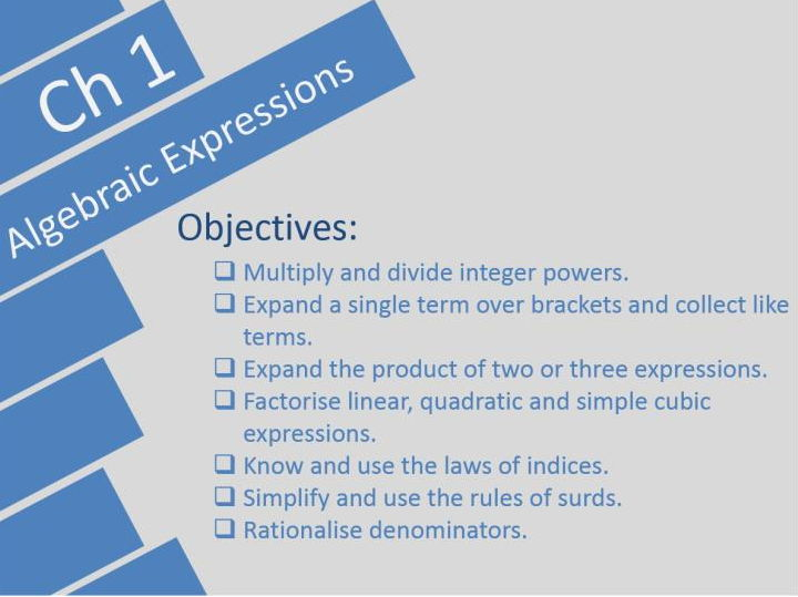 Algebraic Expressions Edexcel A-level Year 1/AS Pearson Ch 1