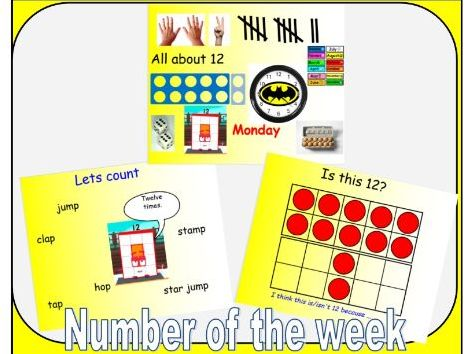 Number of the week - powerpoint for numbers 1-20 learning about them in depth.