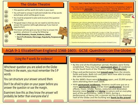 AQA GCSE 9-1 History Elizabethan England 1568-1603: The Globe Theatre- GCSE exam question practice