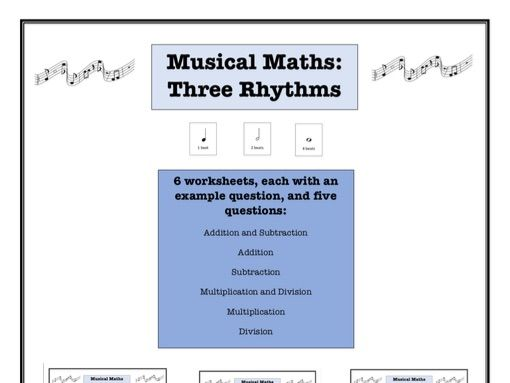 Musical maths worksheet: 3 rhythms