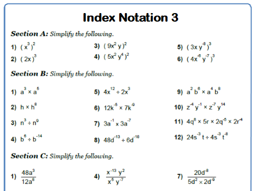 Indices 9-1 GCSE Maths Worksheet with Answers