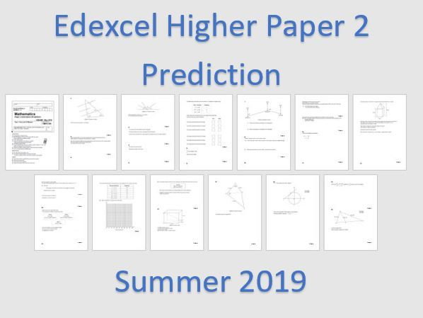 Edexcel Higher  Maths Predicted Summer 2019 PAPER 2