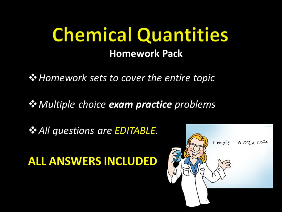 Chemical Quantities, the mole HOMEWORK set w/ ANSWERS,  Multiple Choice Chemistry Practice Problems