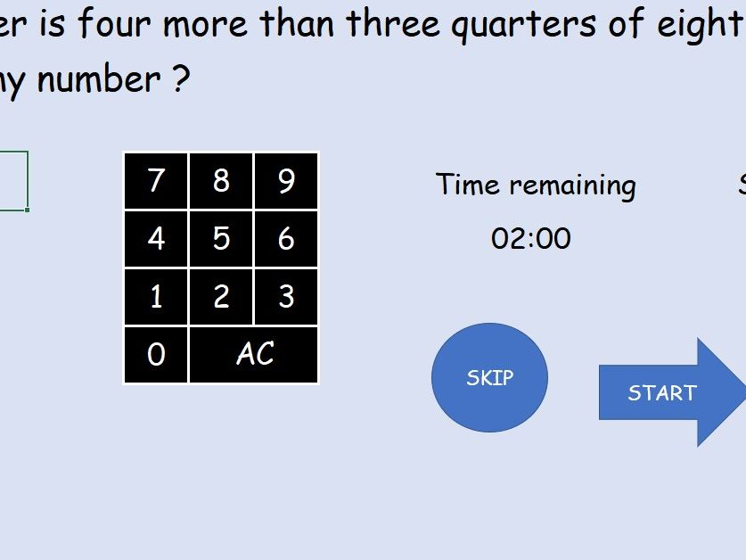 Interactive mental fraction arithmetic game