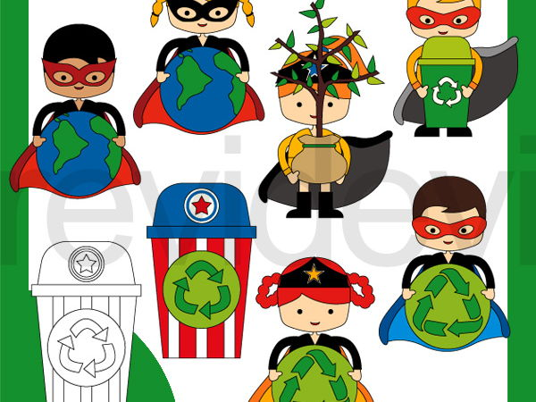 Superhero Recycle clipart - Earth Day - Go Green graphics