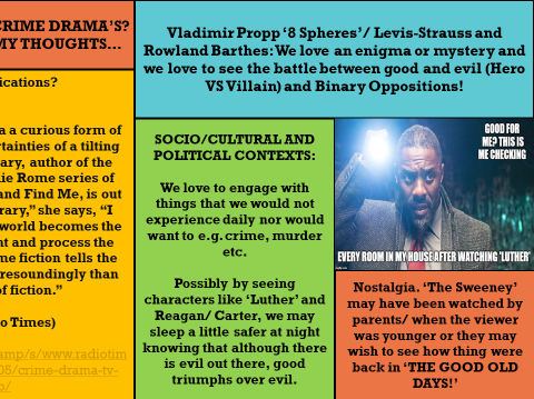 GCSE COMPONENT 2, CRIME DRAMA:'LUTHER' &'THE SWEENEY' (AUDIENCE AND KEY  THEORY ASSESSED)