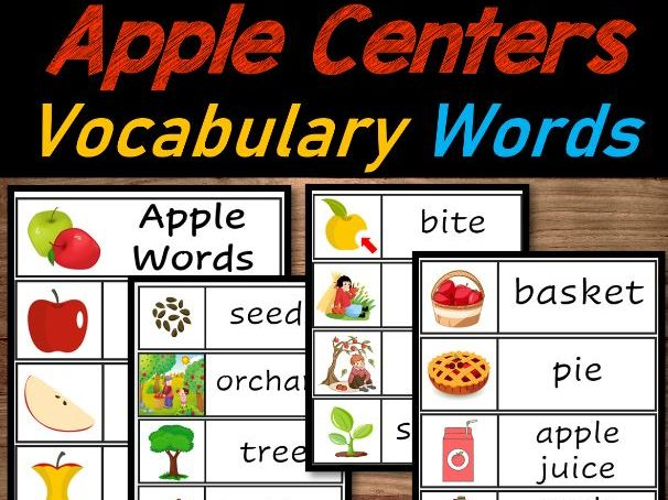 Apple Literacy Centers   Apple Vocabulary words, Rhyming words & Syllables