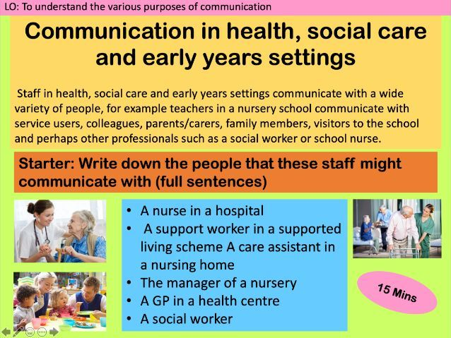 OCR Cambridge National level 1/2 Health and Social Care- Unit R022 Communication Lessons