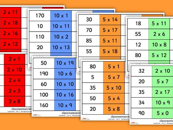 Differentiated Year 2 times table loop  cards for 2, 5 and 10