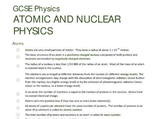 ATOMIC STRUCTURE unit summary/checklist for AQA GCSE Physics