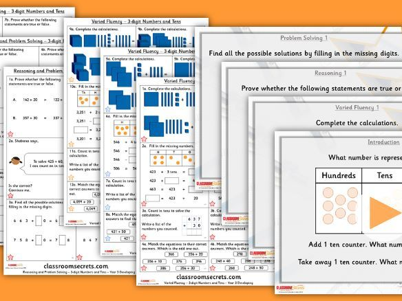 Year 3 3-digit Numbers and Tens Autumn Block 2 Step 5 Lesson Pack