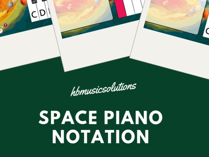 Spaced Themed Piano Notation Treble Clef Music KS2/KS3 Interactive Game