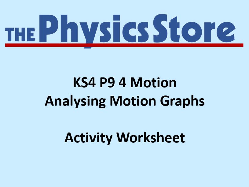 KS4 Physics P9 4 Analysing Motion Graphs Worksheet