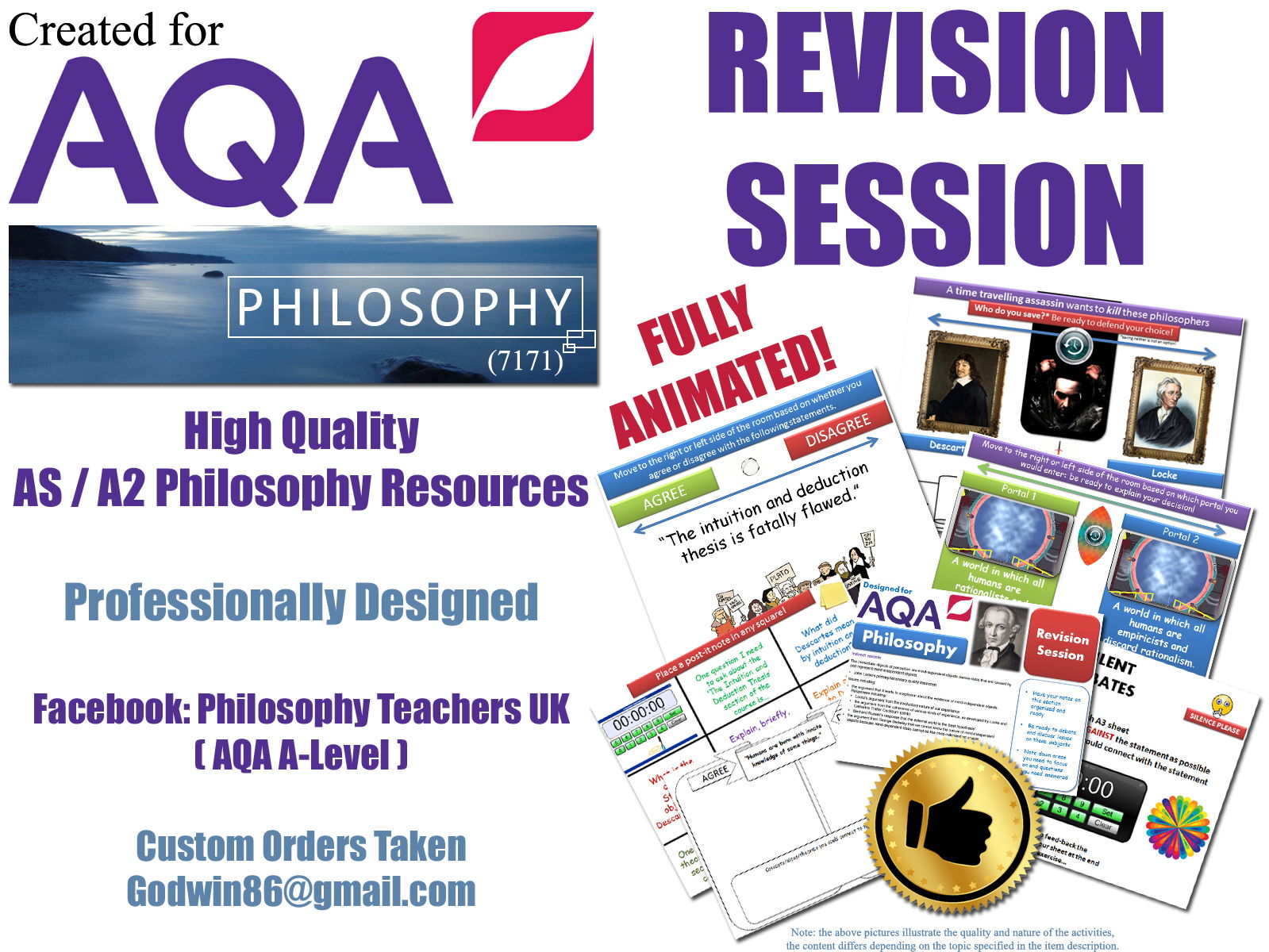 AQA Philosophy (NEW SPEC!) - AS Revision Bundle [ Epistemology ] Covers: Direct Realism, Indirect Realism (Locke), Berkeley's Idealism , Innatism, Intuition & Deduction [Cogito, Descartes, Trademark Argument], What is Knowledge?' and 'The Limits of Knowledge'! [7 x Revision Sessions!]