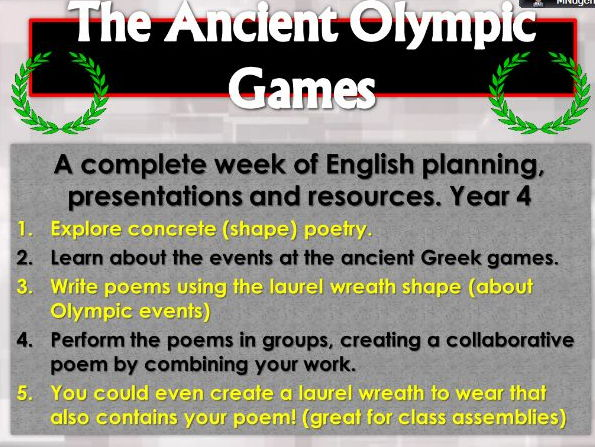 Ancient Greek Poetry - the first Olympics