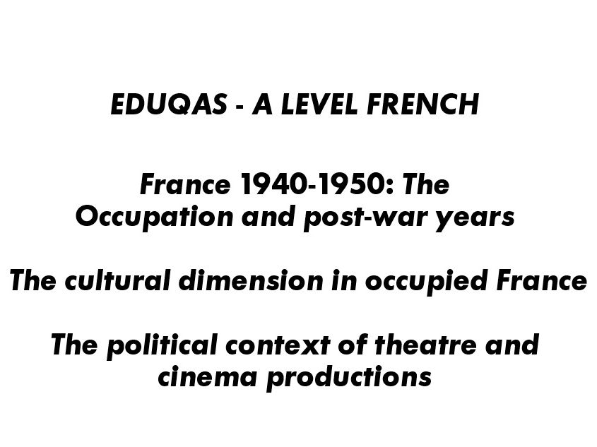 France 1940-1945 The Cultural Dimension in Occupied France