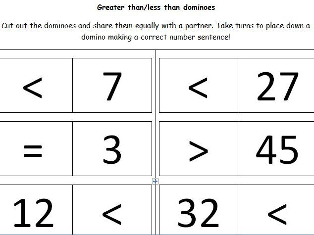 Greater Than Less Than Equal Dominoes Maths Game Ks1 By