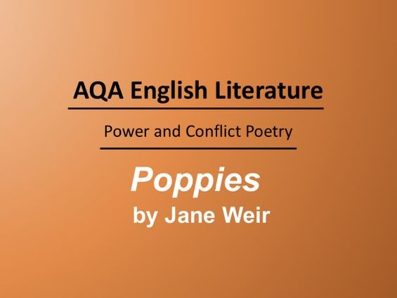 Poppies by Jane Weir Lesson