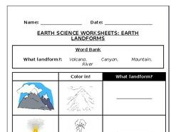 Earth science worksheets: Earth Land forms