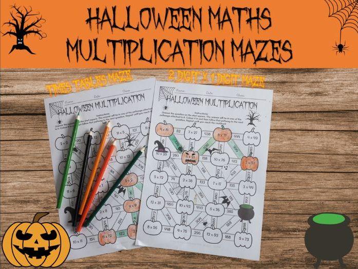 Halloween maths: multiplication mazes