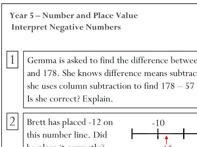 Year 5 Reasoning - Interpret Negative Numbers