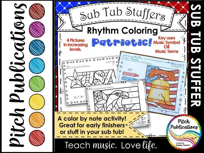 Sub Tub - Rhythm Coloring: Patriotic - Color by Note - multiple rhythm levels