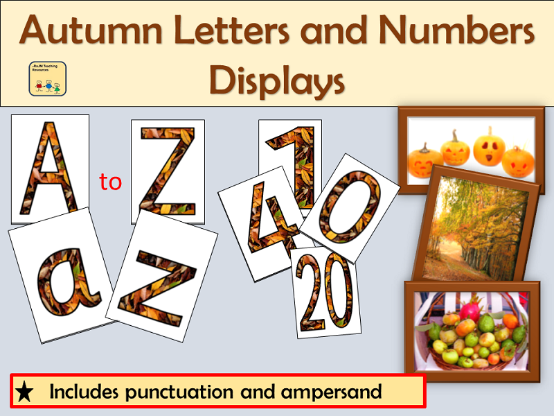 Autumn-Themed Letters Numbers Punctuation Symbols, Maths Signs and Autumn Photos Displays