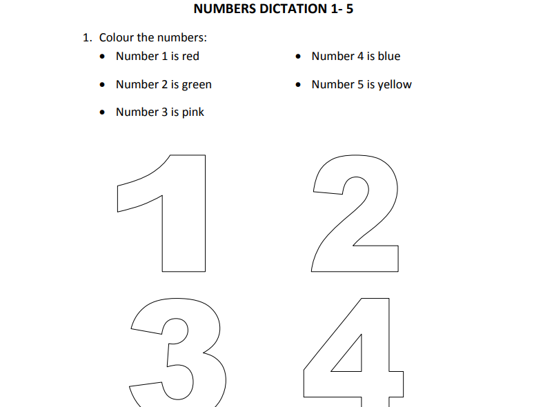 Numbers Dictation 1 to 10 for Nursery and Reception Students