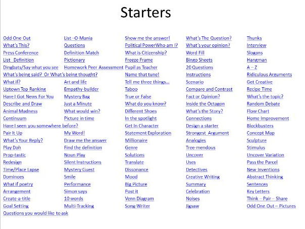 Starter, Plenary and AFL Ideas