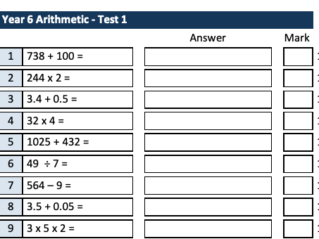 Year 6 One-page Arithmetic Test