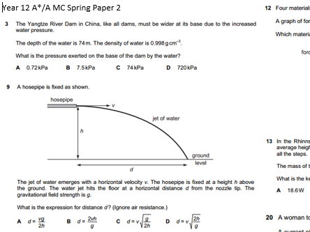 Physics AS Multiple Choice Extension A*/A Questions OCR