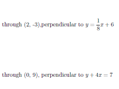 Equation of a line through a point and perpendicular to a given line  worksheet  (with solutions)