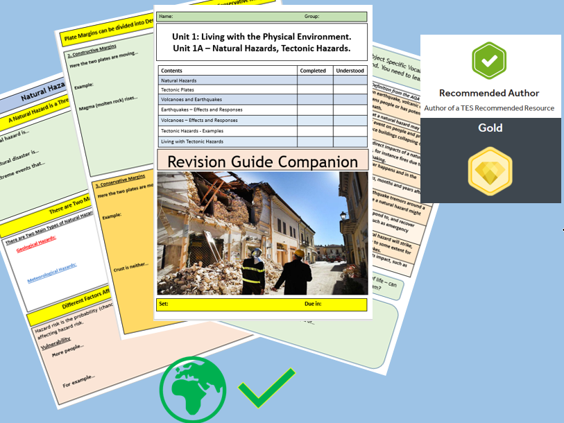 AQA 9-1 Tectonics Hazards Revision Guide Companion Home Learning Booklet