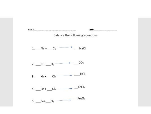 Balancing Equations Worksheet No Prep Teaching Resources