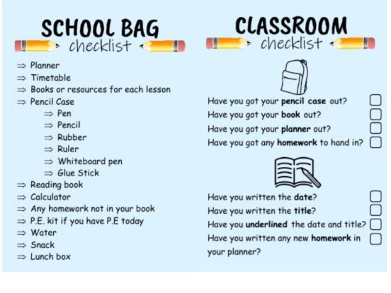 Classroom and Bag Checklist