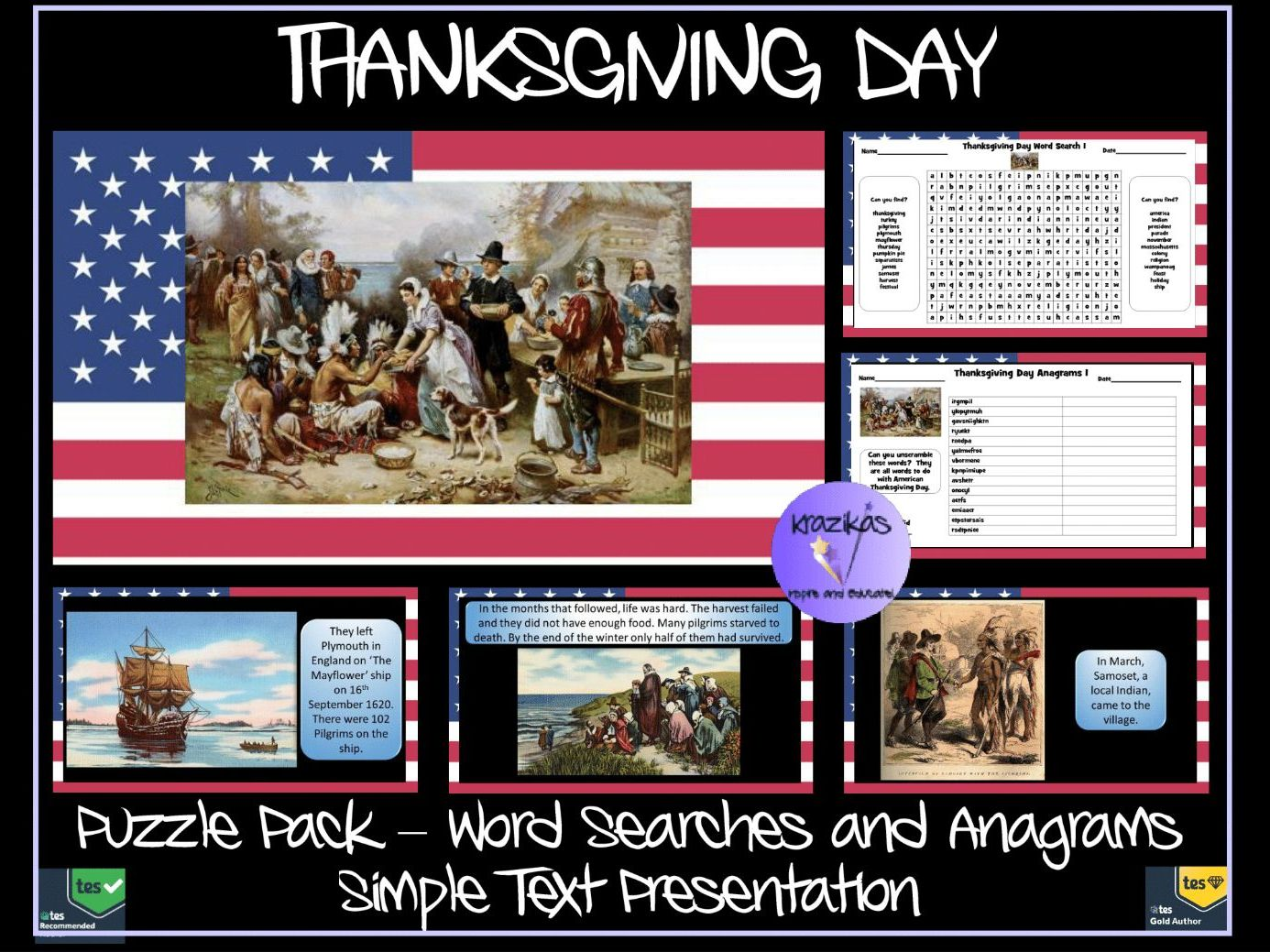 Thanksgiving Day Simple Text Presentation and Puzzle Pack Bundle