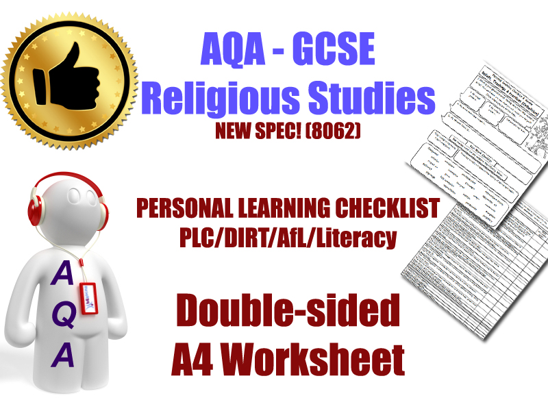 Islam [AQA GCSE 8062] Personal Learning Checklist (PLC) & DIRT Double-Sided A4 Worksheet